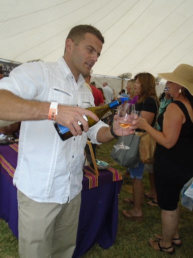 Sabastien Noel pours a sample from Nobelle Wines