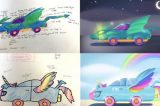 Adorable Kids Asked to Design Cars of The Future Demand Rainbow Headlights, Fins, Wings